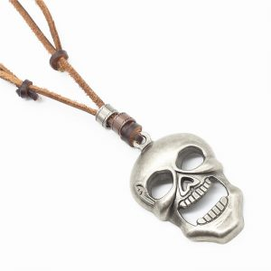 8000 1018 Leren-ketting-doodshoofd-skull