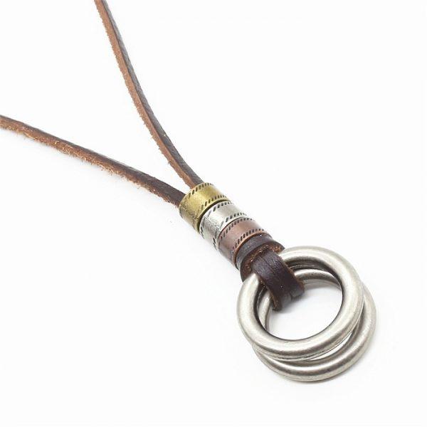8000 1019 Leren-ketting-massive-ring-dubbel