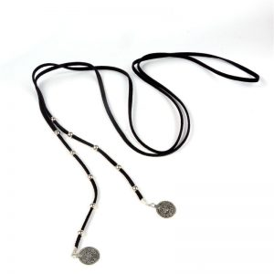 9000 1041 veterketting_choker_wrap_beads_coins_zwart
