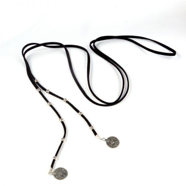 9000 1041 veterketting_choker_wrap_beads_coins_zwart